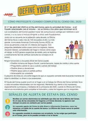 Cover Census 2020 Handout – Frauds & Scams Tip Sheet – Spanish